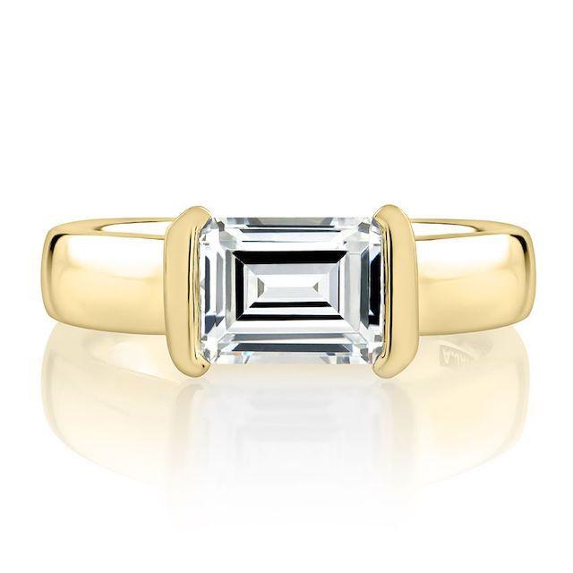 A.Jaffe Half Bezel East West Emerald Cut Diamond Engagement Ring
