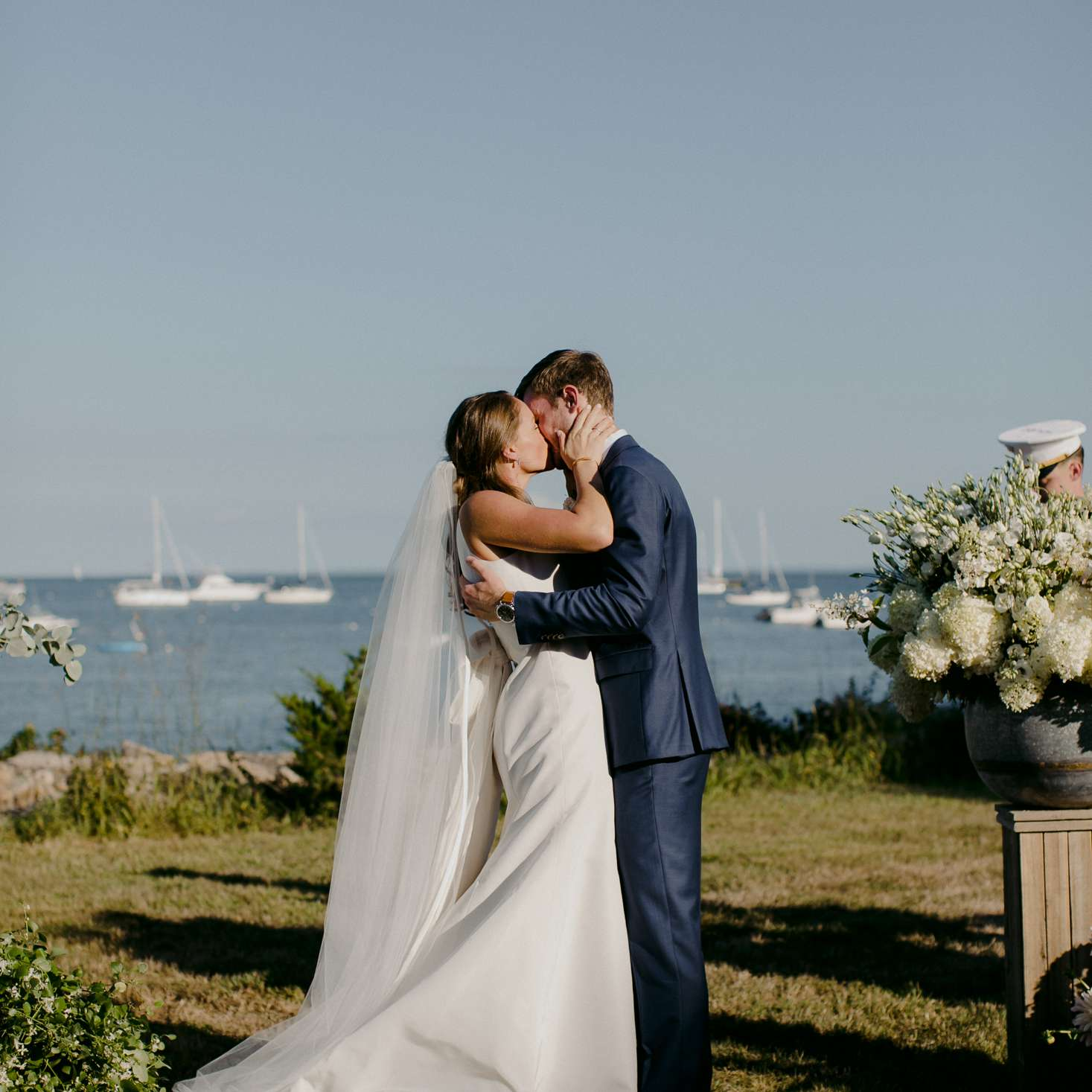 at-home rustic massachusetts wedding, bride and groom kissing