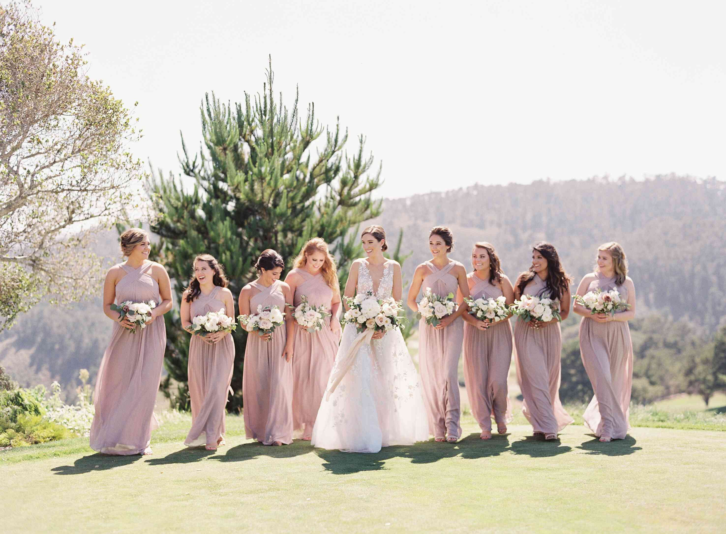 bride with bridal party in blush dresses