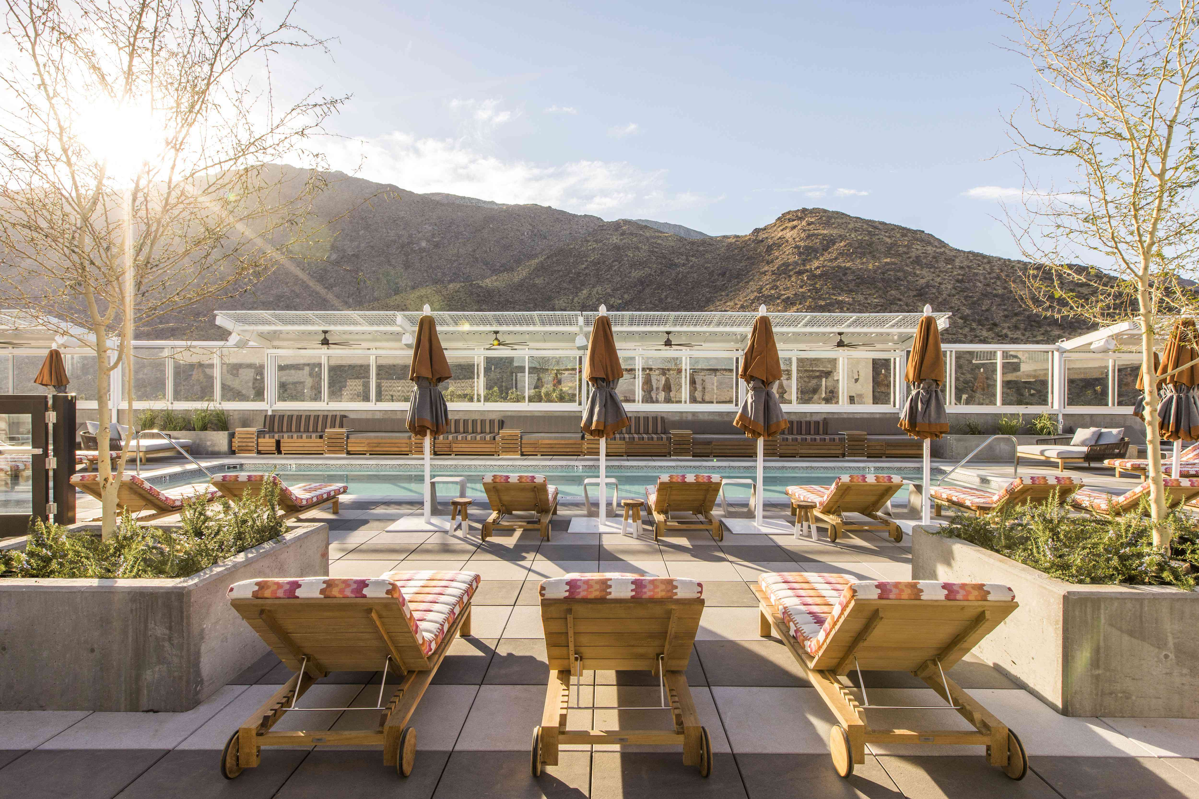 Rooftop pool at Kimpton The Rowan overlooking the mountains in Palm Springs