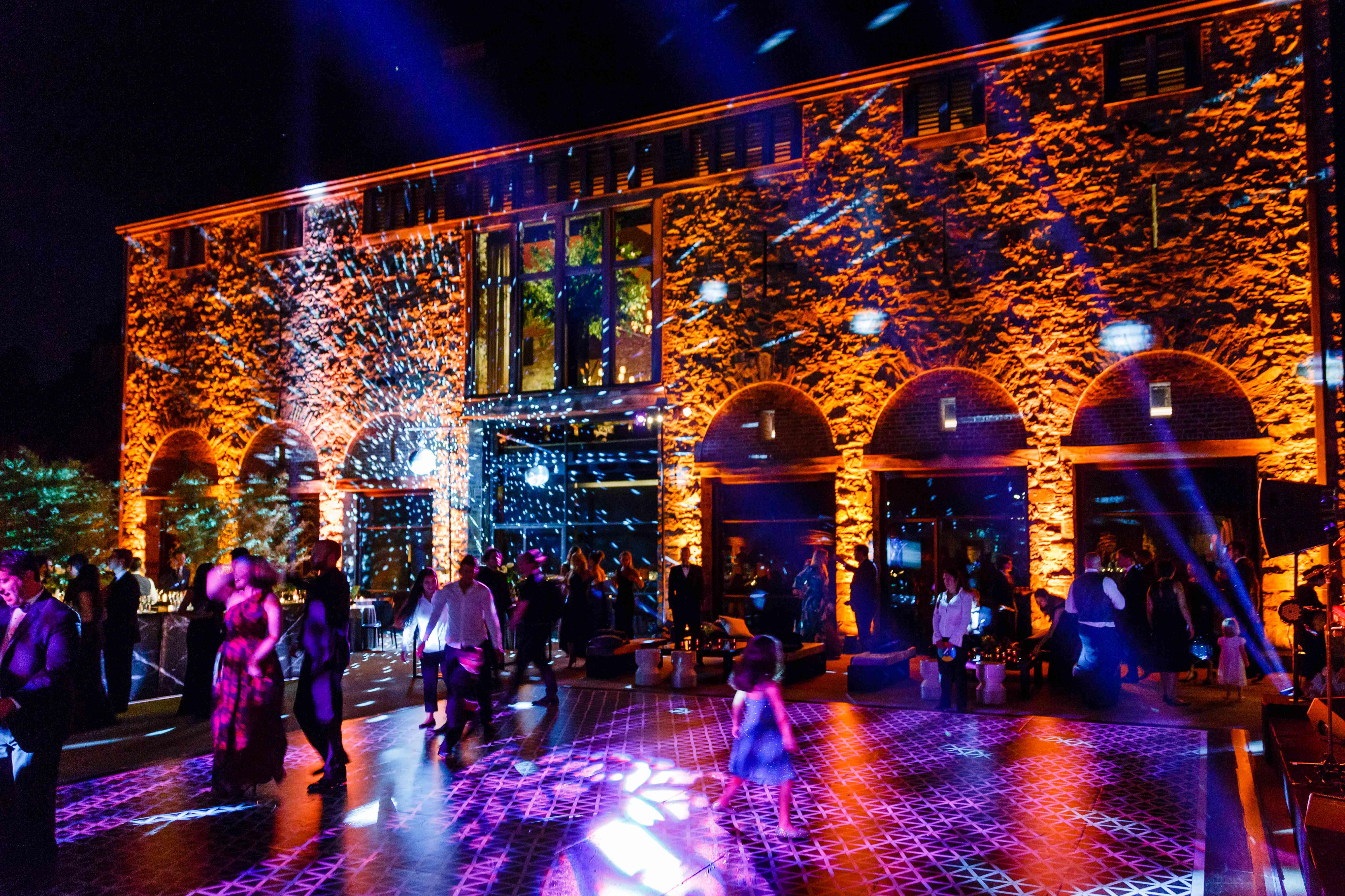 dance floor wedding lights