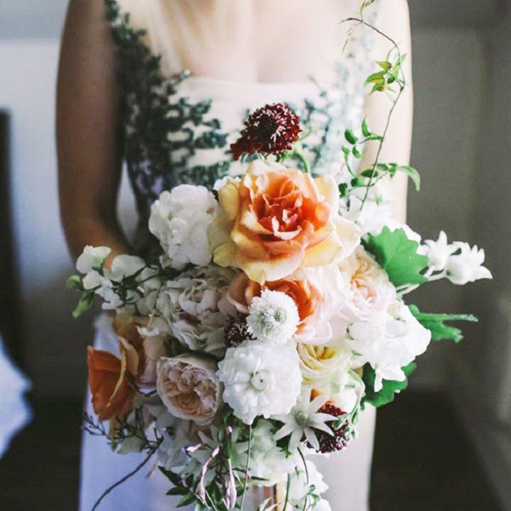 Cream and orange Peony bouquet