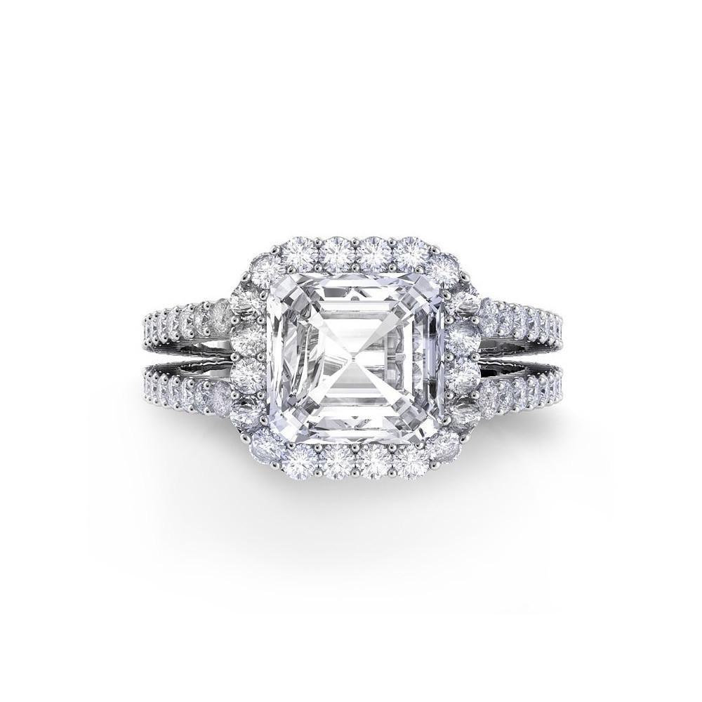 Danhov Carezza Double Shank Asscher Cut Diamond Engagement Ring