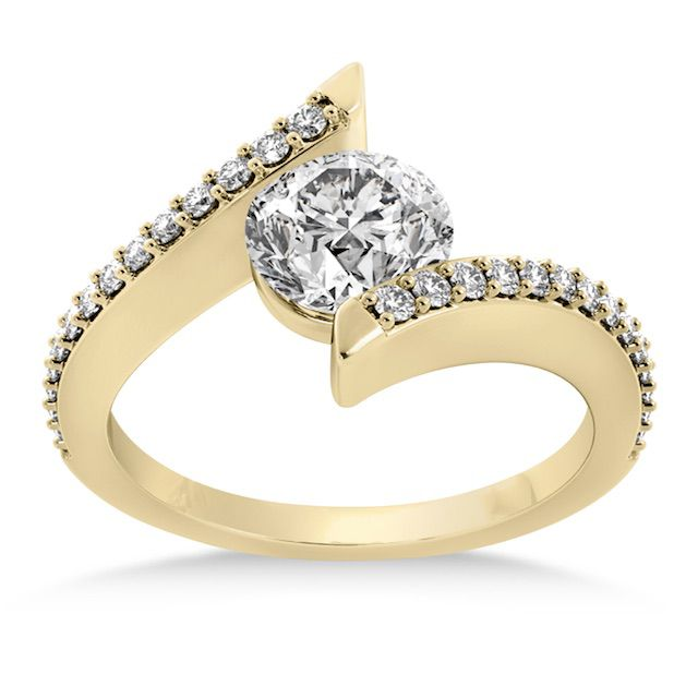 Allurez Diamond Bypass Tension Set Engagement Ring
