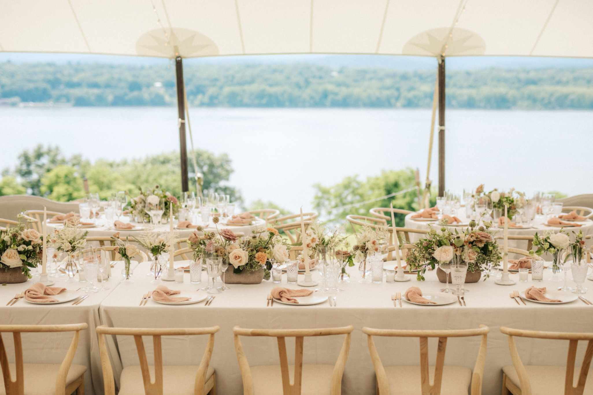 Blush reception theme overlooking lake