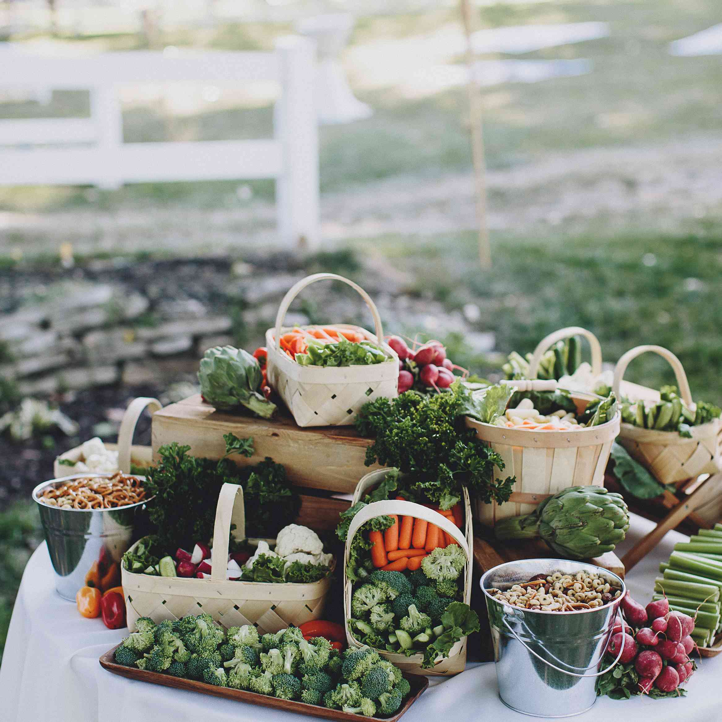 Grazing table with vegetables and nuts