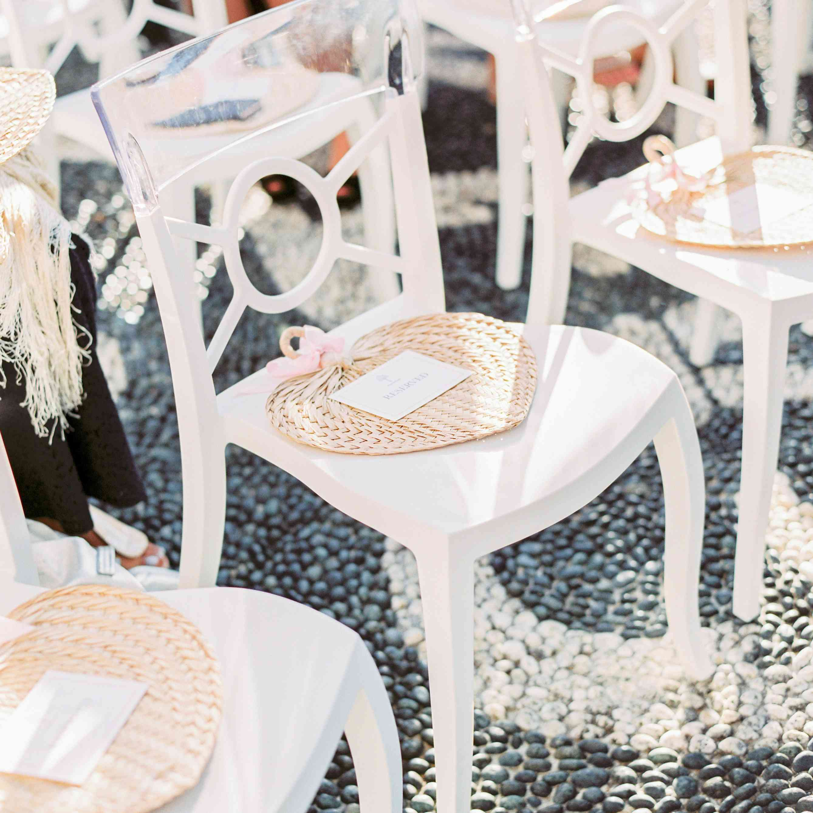 woven ceremony seating fans