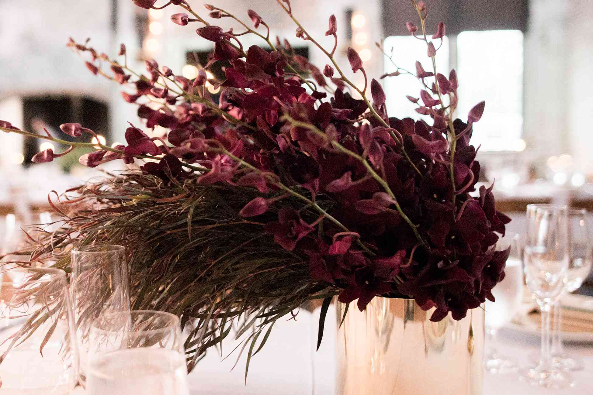 <p>orchid and grass copper centerpieces</p><br><br>