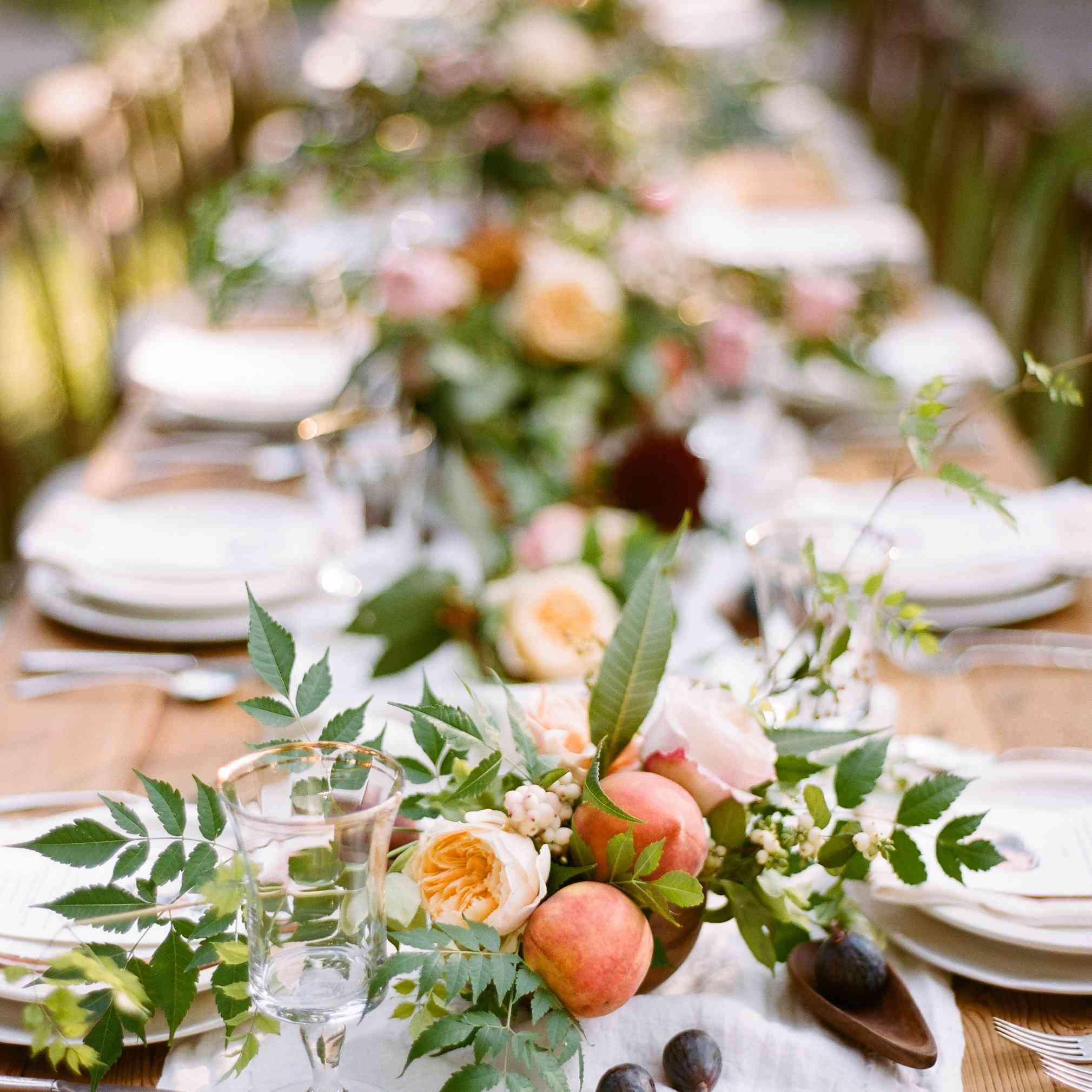 peaches in wedding centerpiece