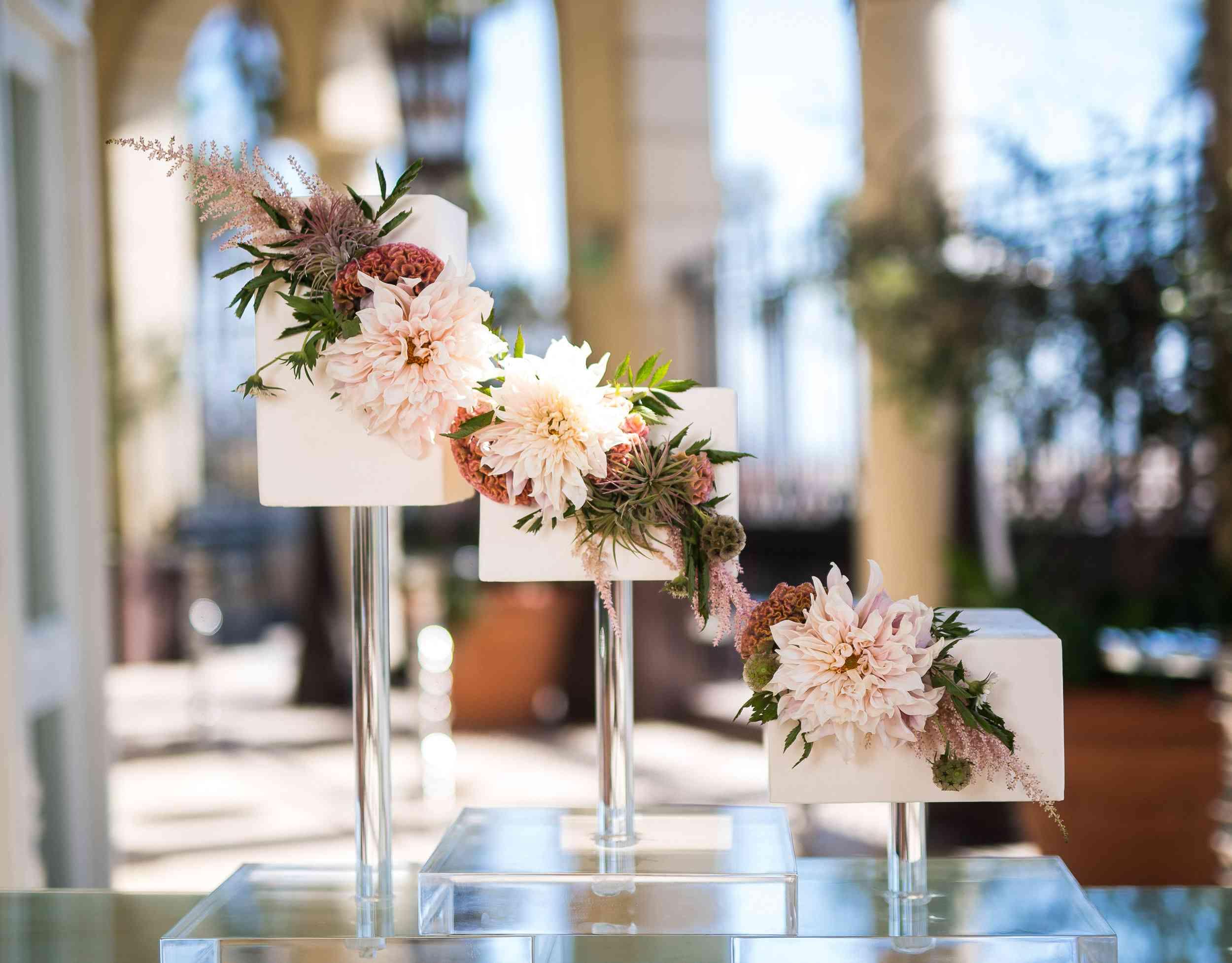 Contemporary Rectangular-Tiered Wedding Cakes