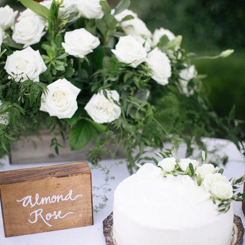 A white wedding cake