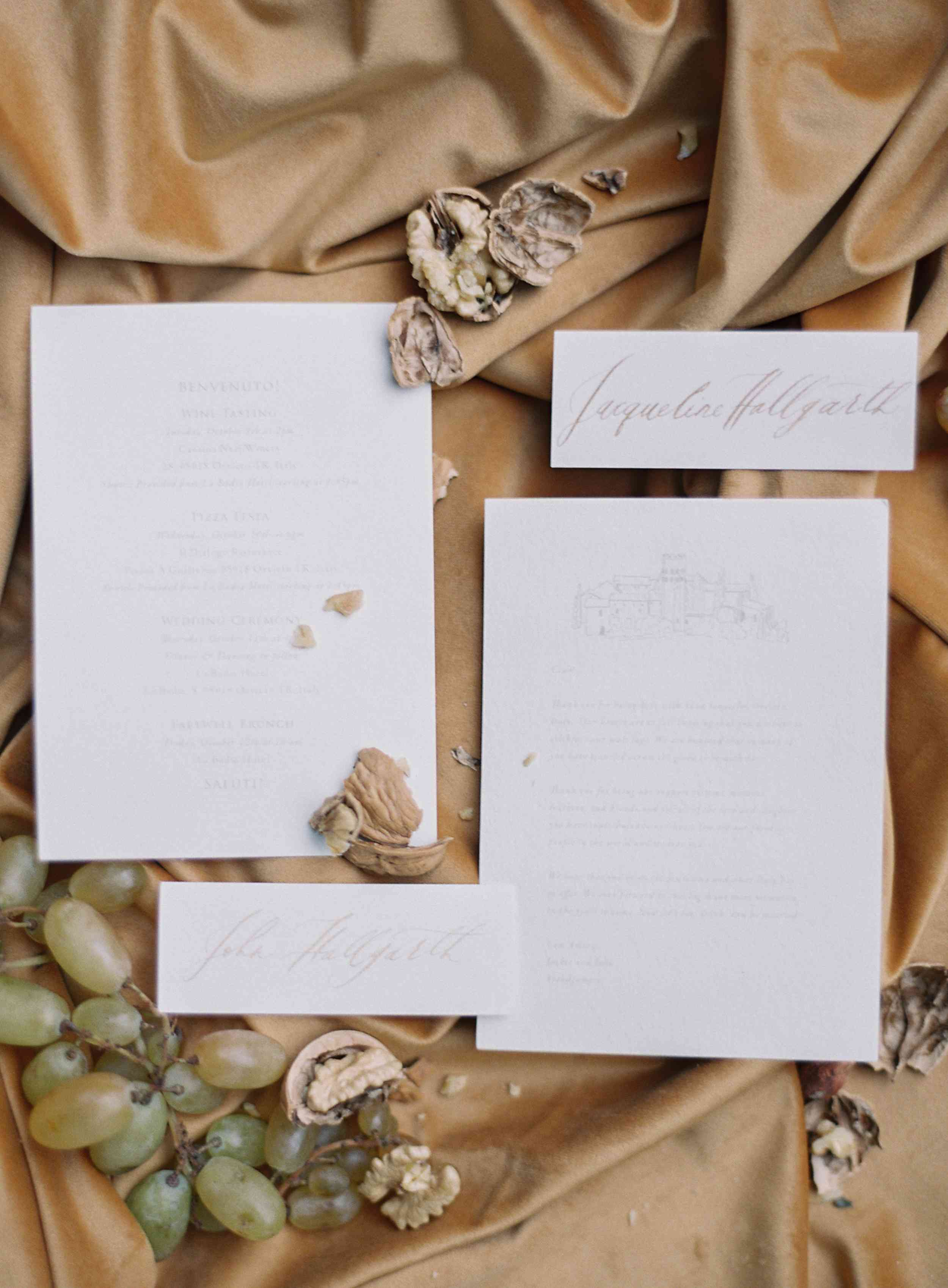 classic la badia italian wedding, neutral invitation suite