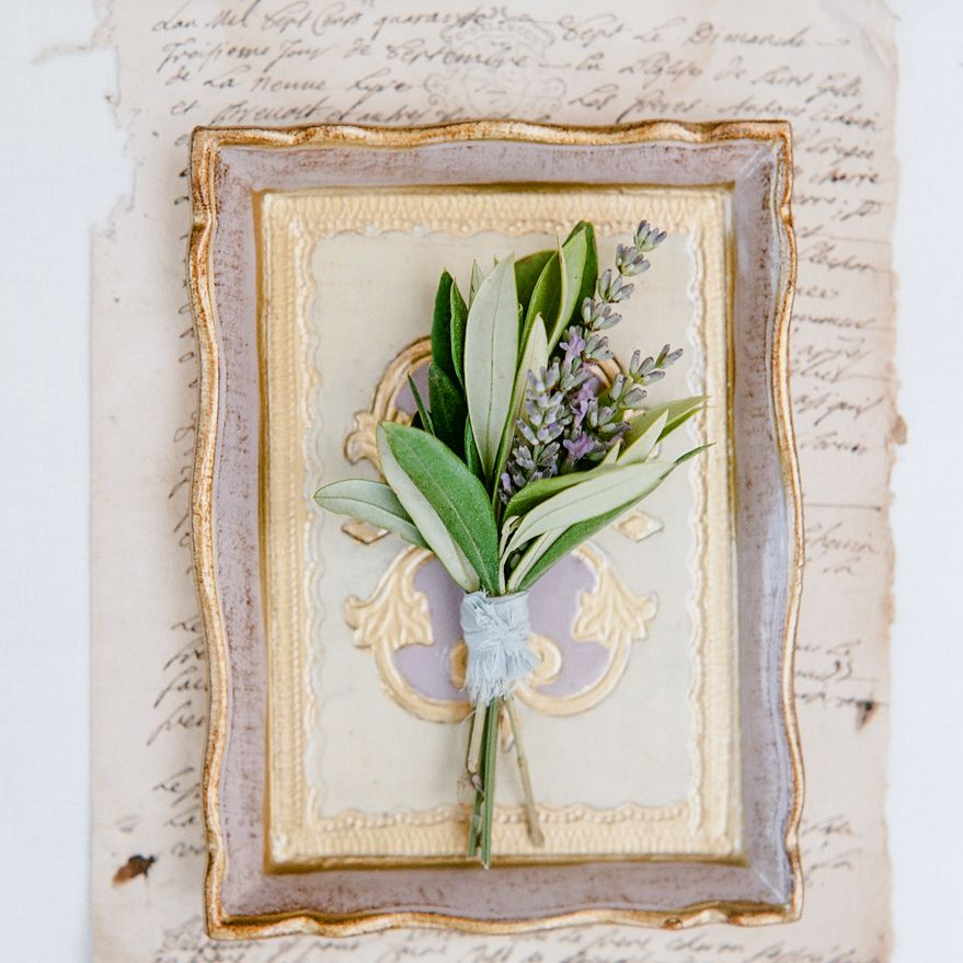 lavender with olive leaves boutonniere