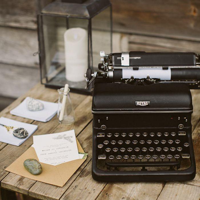 Typewriter guestbook at wedding