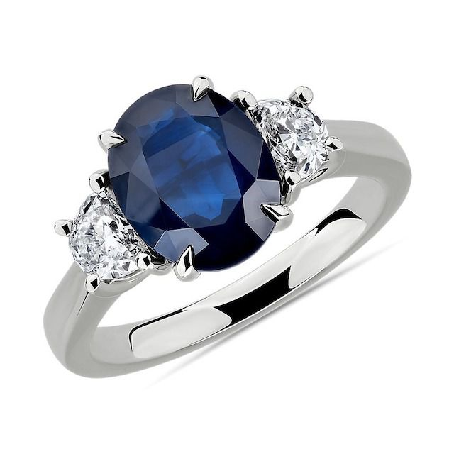 Blue Nile Oval Sapphire and Diamond Ring