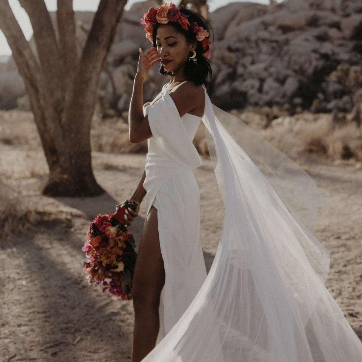 Bride with flower crown in desert