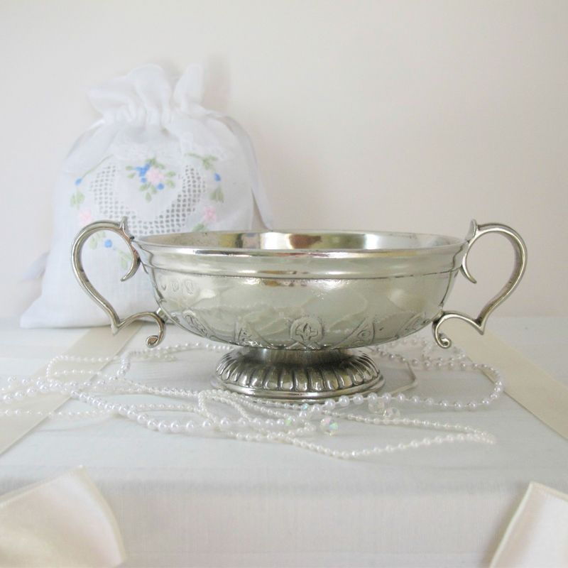 Shallow silver two-handled cup