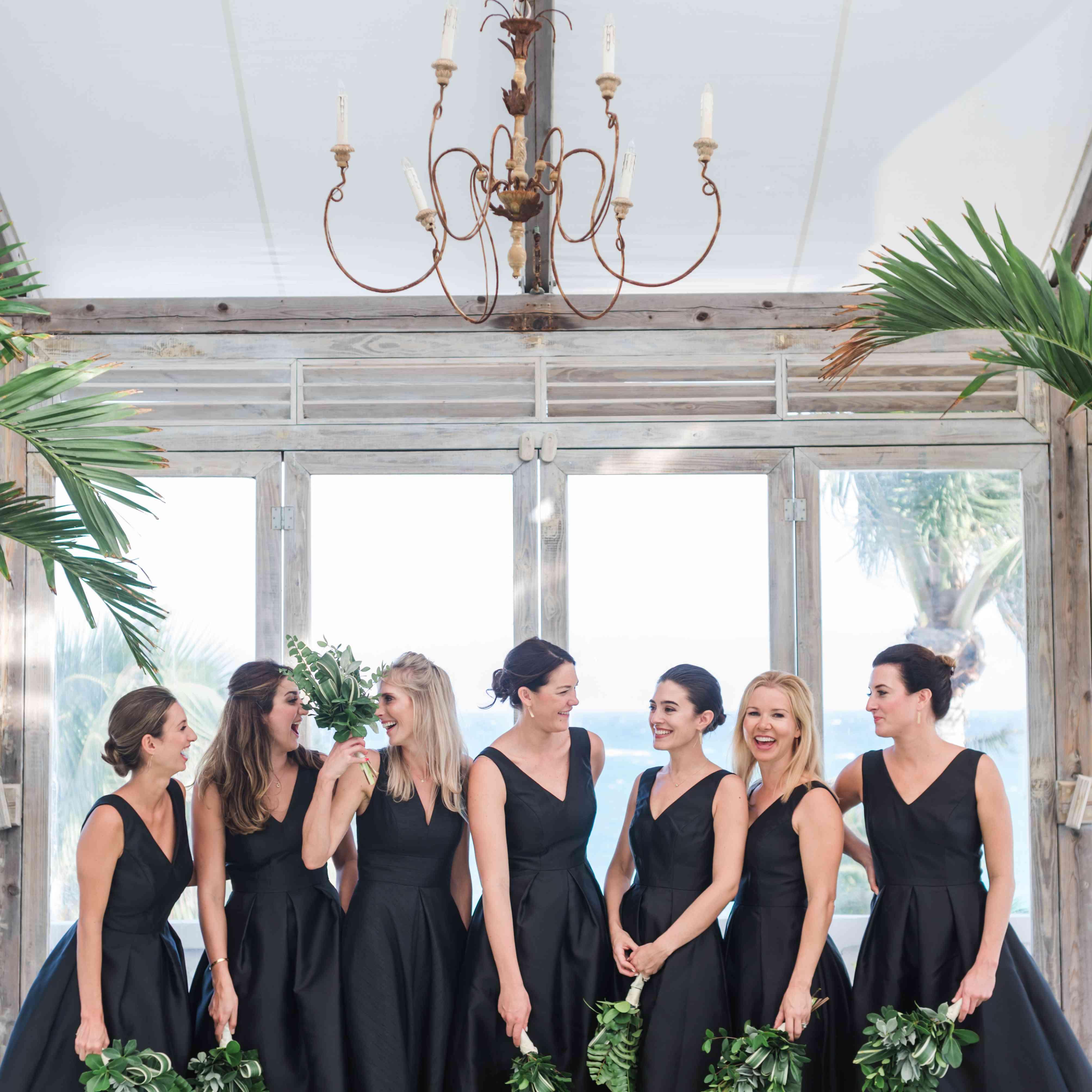 <p>black bridesmaid dresses</p><br><br>
