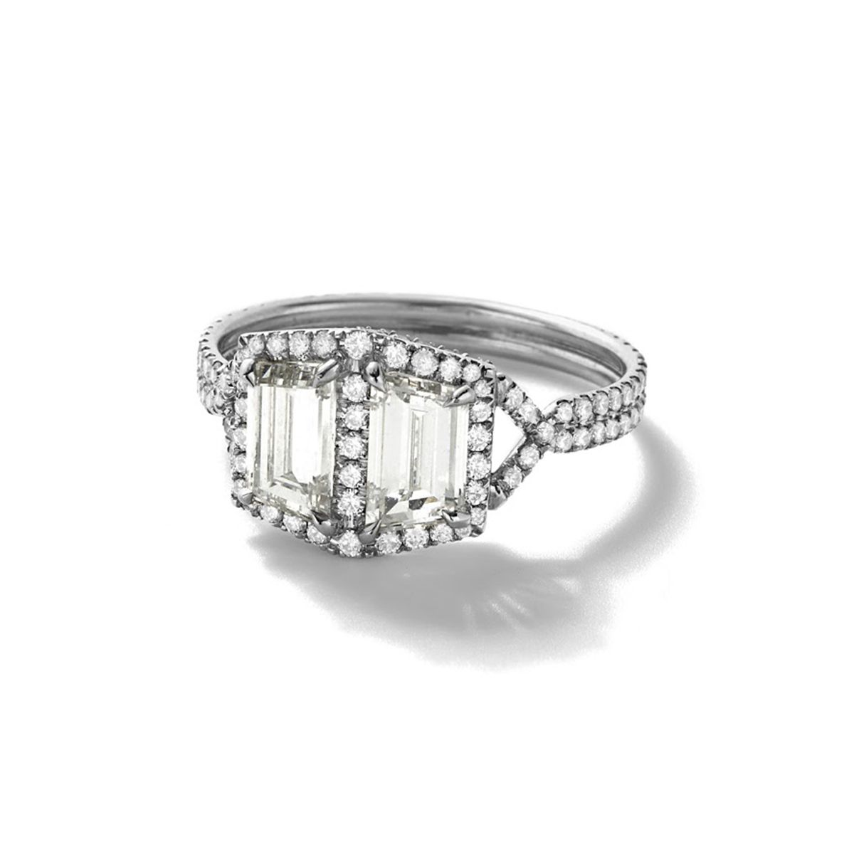 Monique Péan MNRACD526P Two Antique Step Cut Trapezoidal White Diamond Ring