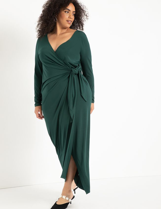 Eloquii Wide Neck Wrap Gown, $99.95
