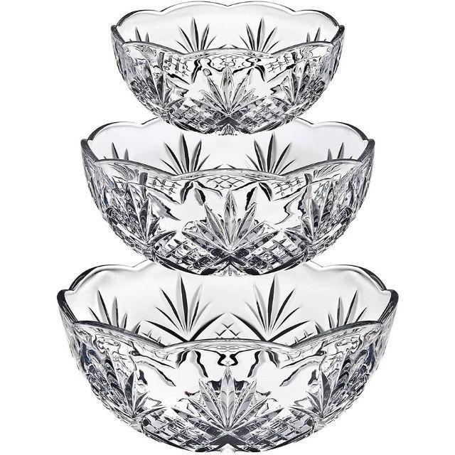 Godinger Bowl Set for Salad, Serving, Mixing, Dublin Crystal Collection