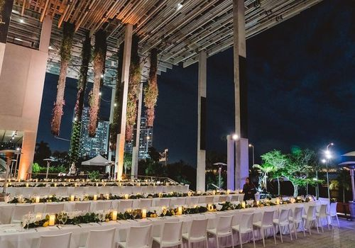 Tables at Perez Art Museum for wedding