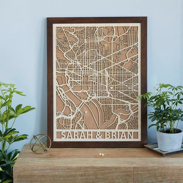 Uncommon Goods Personalized Wood Cut City Map