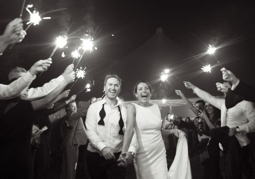 reception sendoff with sparklers