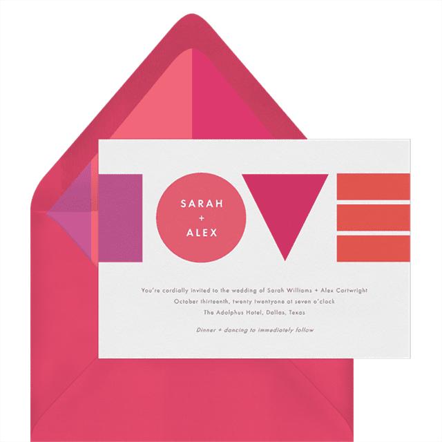 Greenvelope Bauhaus Love Invitation by Ringleader Paper Co.