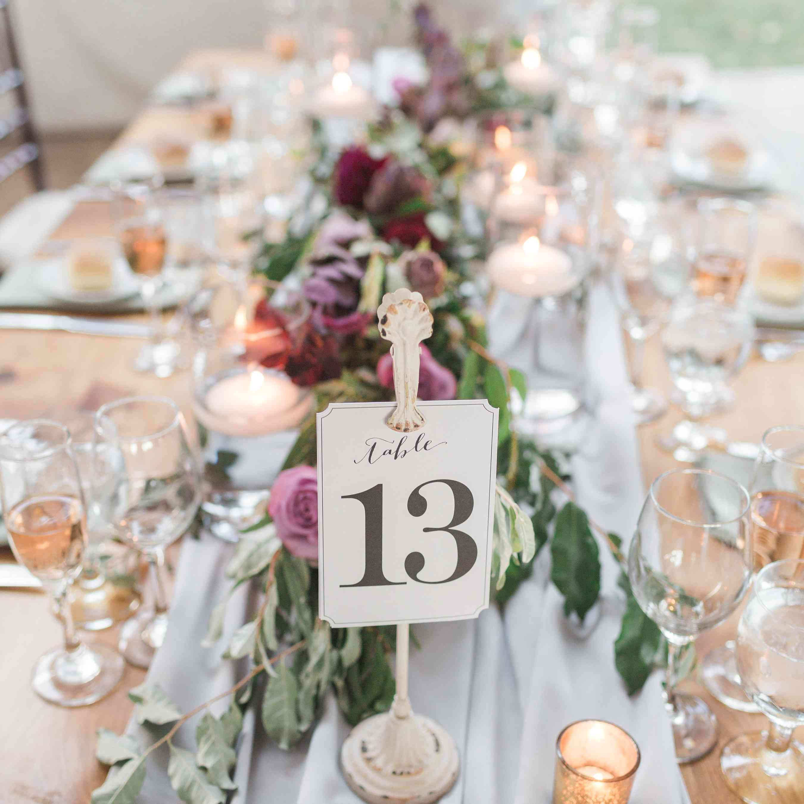 Reception Table with Table Number