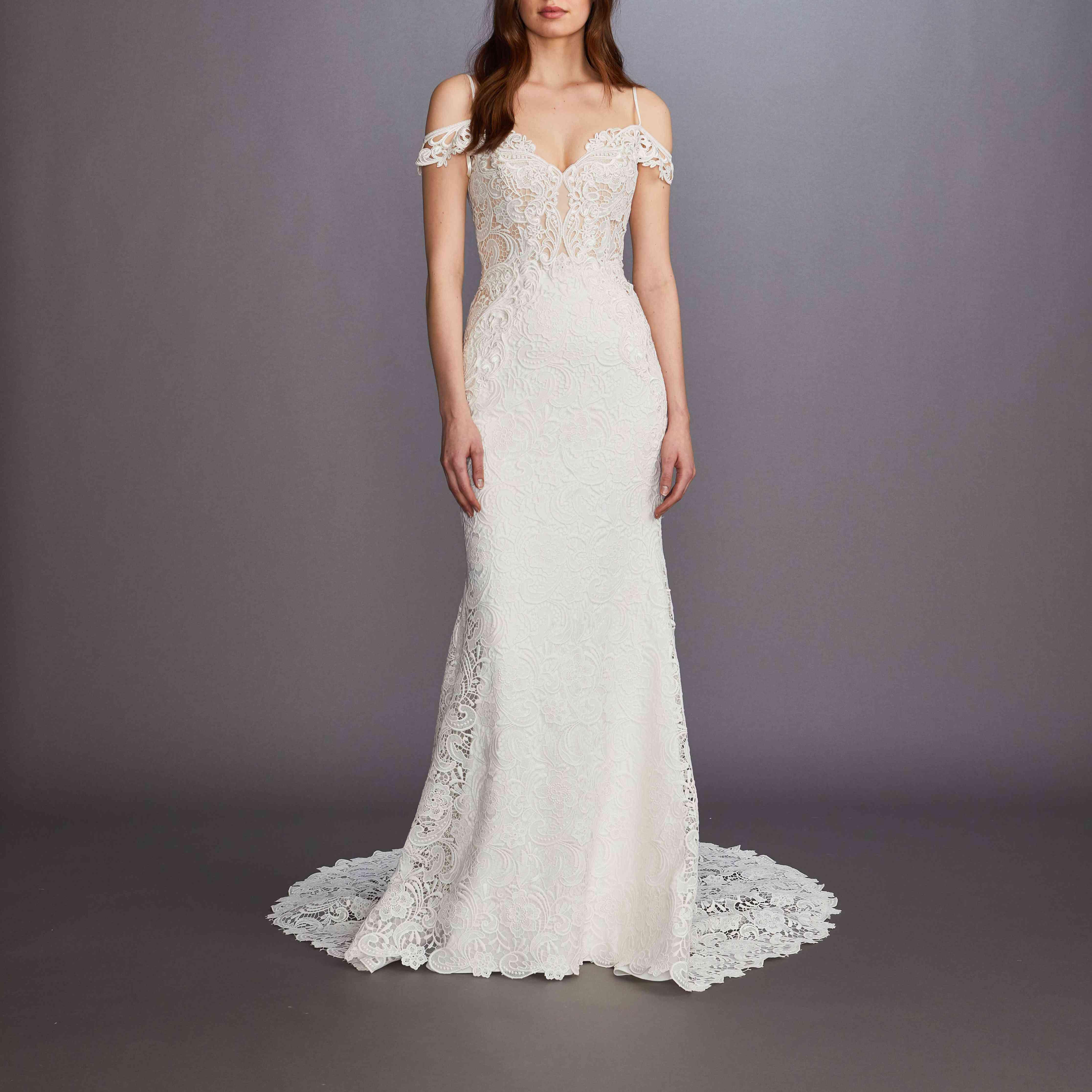 Hanna off-the-shoulder wedding dress by Lazaro