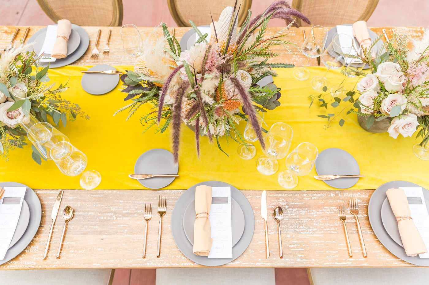 Wedding Reception Table with Yellow Table Runner