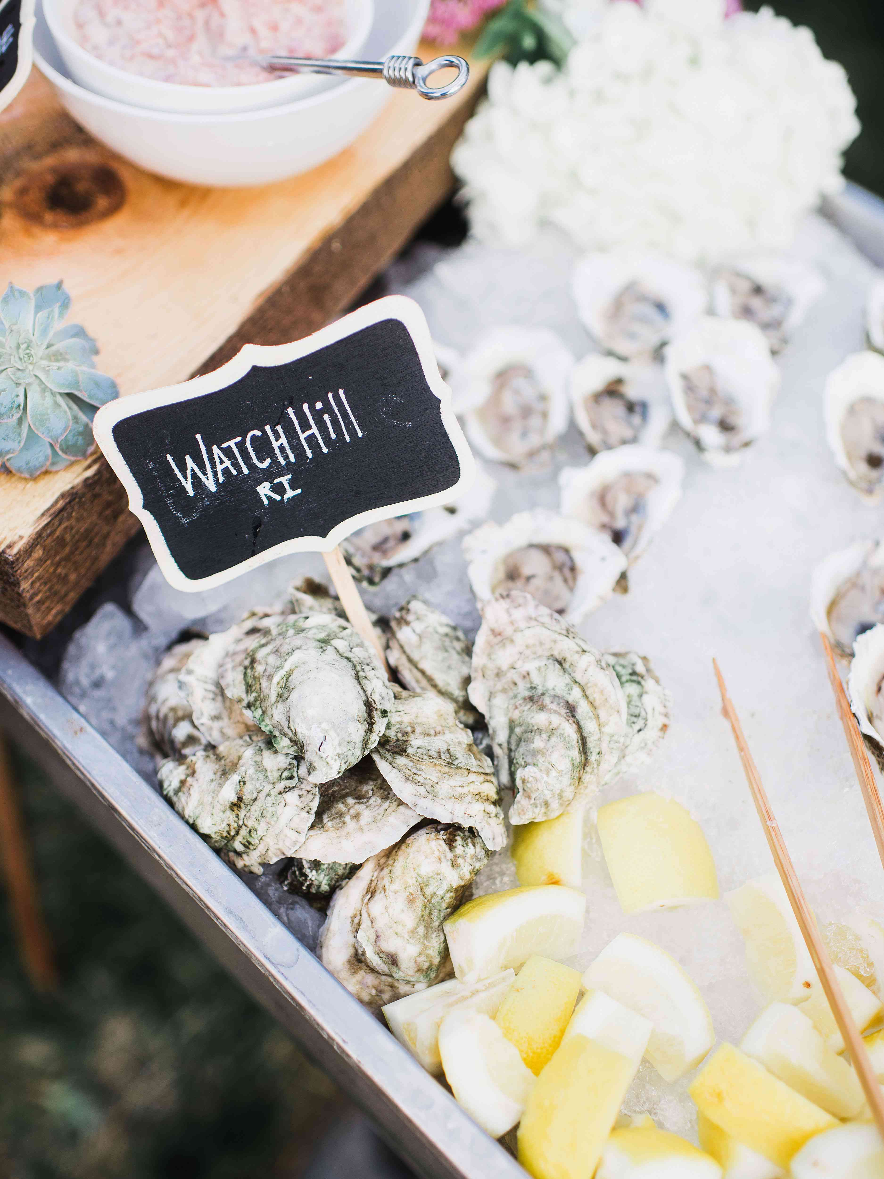A tray of local oysters