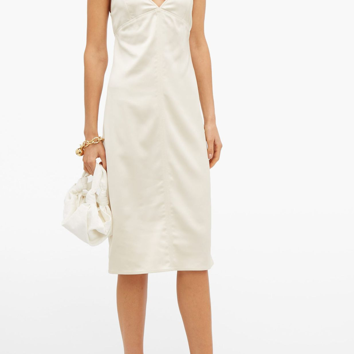 Knotted-strap satin pencil dress