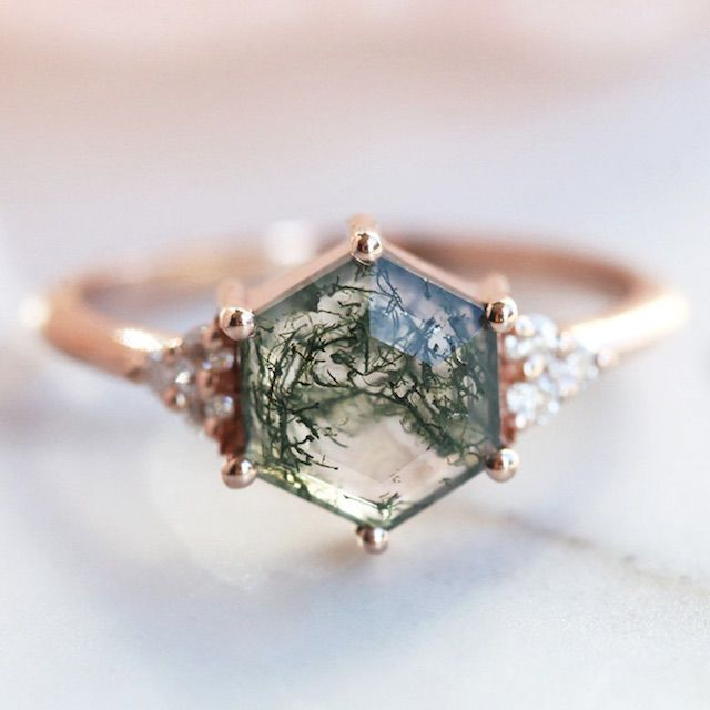threelayers Hexagon Moss Agate & Moissanite or Diamond Ring, Unique Geometric Engagement Ring, Alternative Mossy Agate Wedding Ring