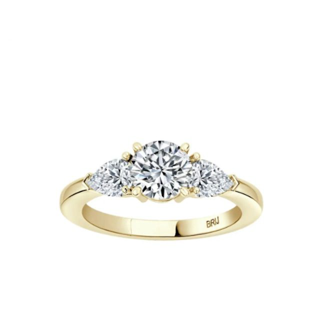 1stDibs Round GIA Certified 0.80 Carat Diamond 3 Stone Engagement Ring 18k Yellow Gold