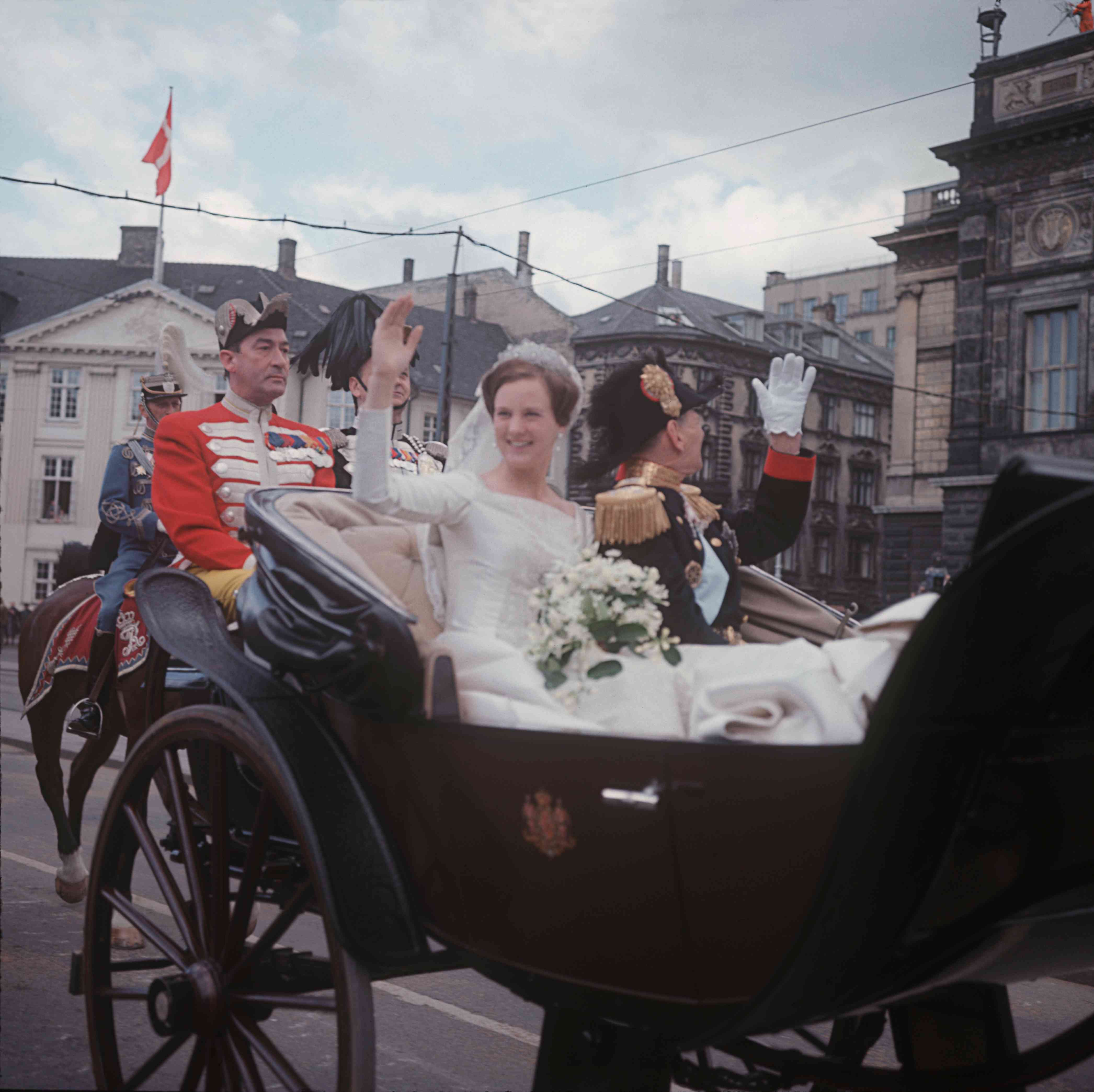 Princess Margrethe with her father King Frederik IX of Denmark before her wedding