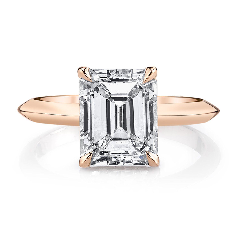 Lizzie Mandler Emerald-Cut Rose Gold Ring