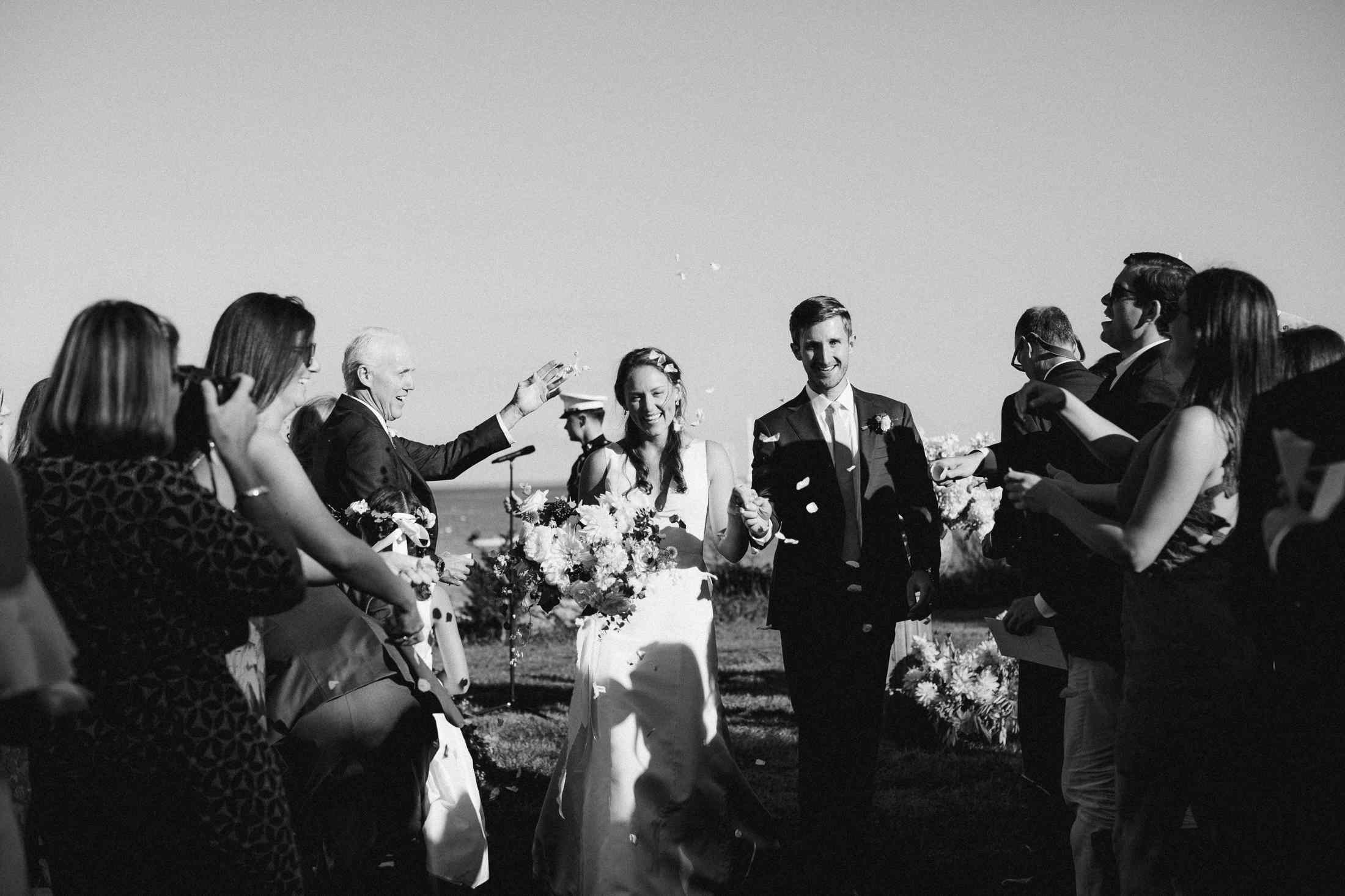 at-home rustic massachusetts wedding, bride and groom ceremony recessional