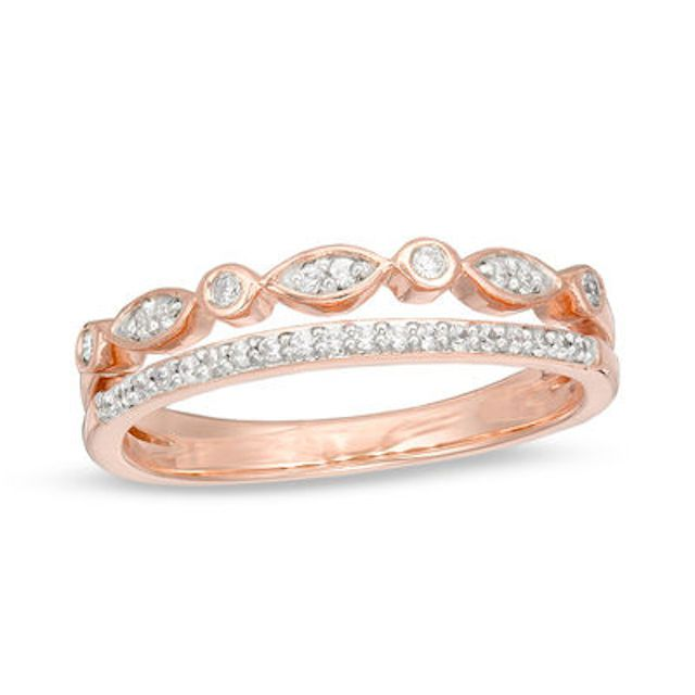 Zales Diamond Two Row Stackable Band in 10K Rose Gold