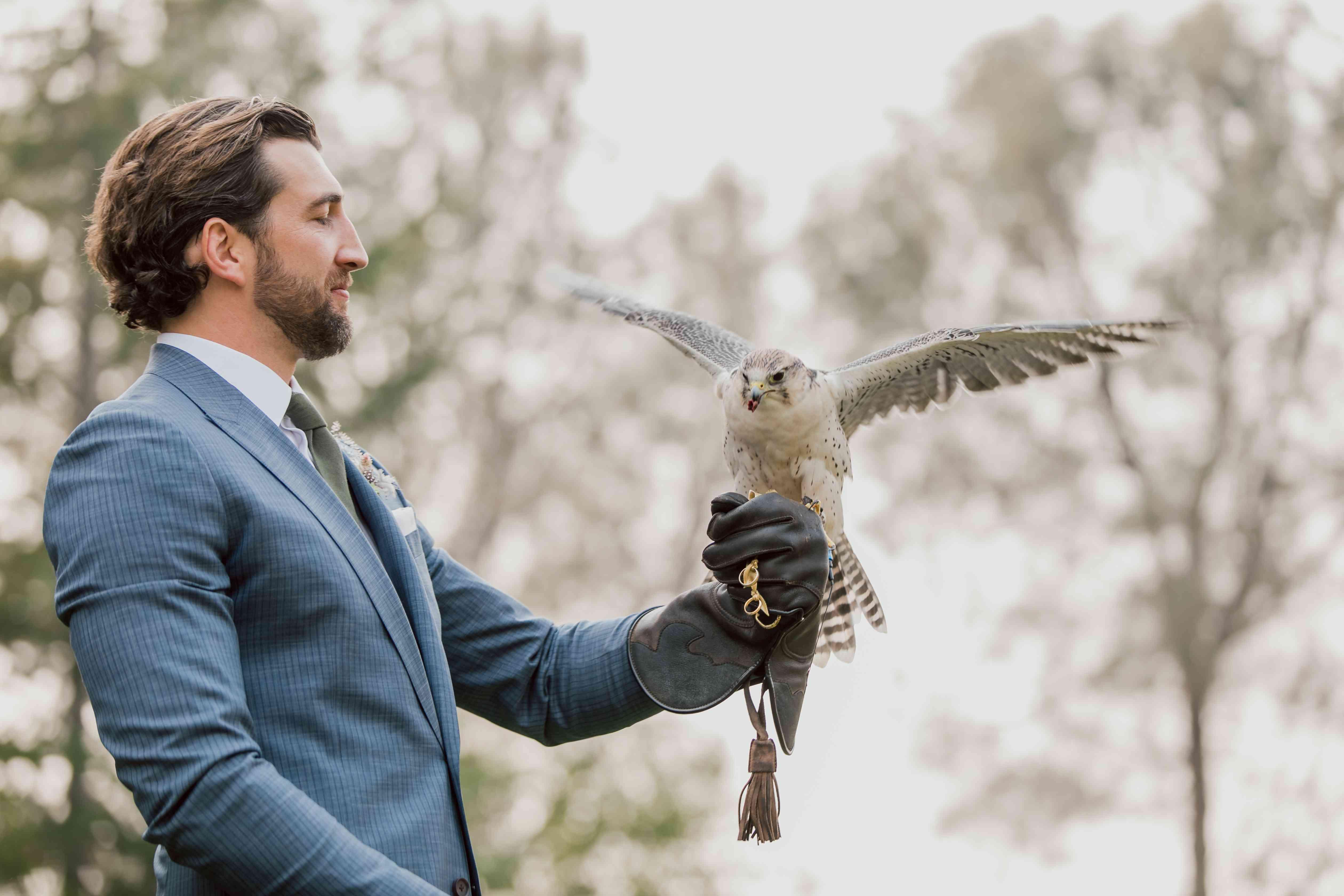 groom holding falcon
