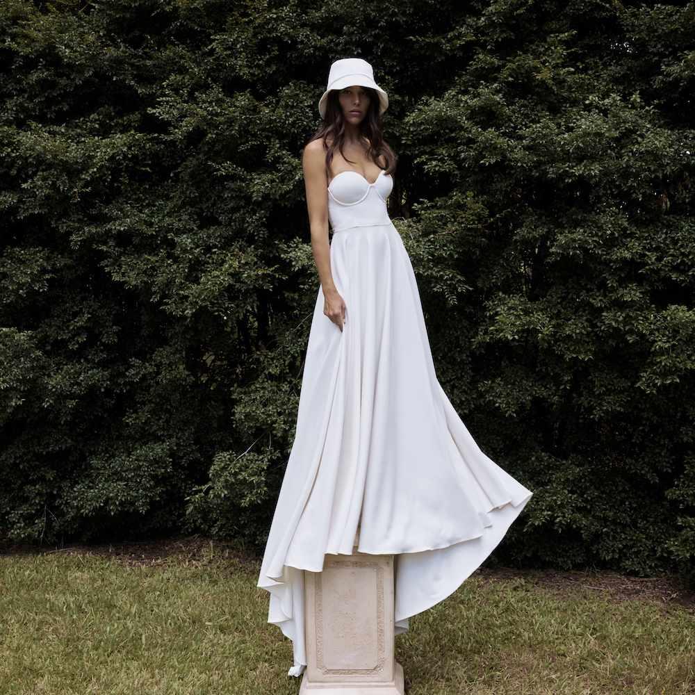 wedding dress and hat