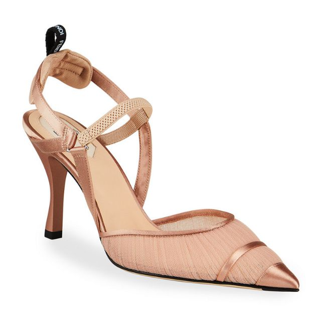 Rose gold slingback pumps with a ruched mesh closed toe and a metallic leather pointed tip