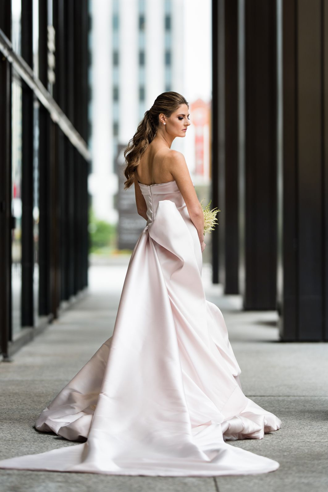 Back of bride's wedding gown with bow detail