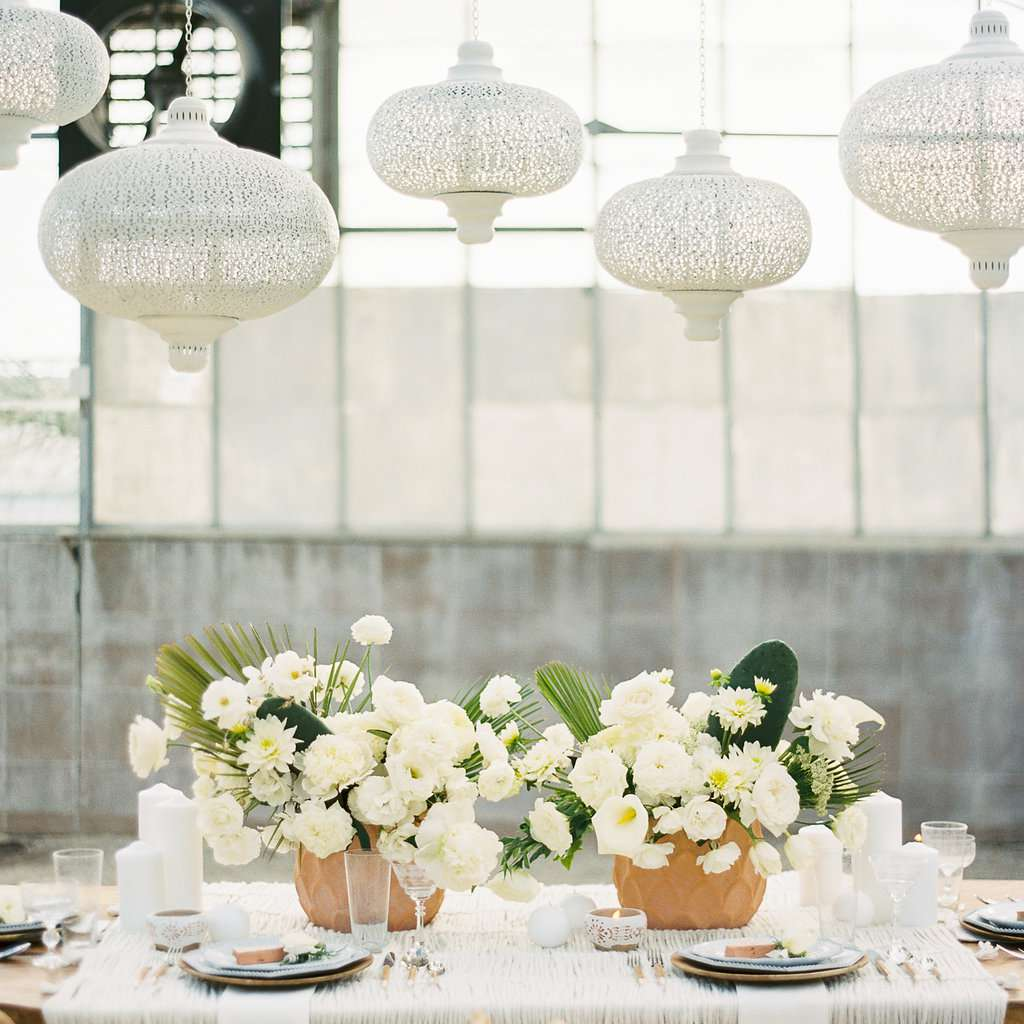 Tablescape with White Flowers and Cacti