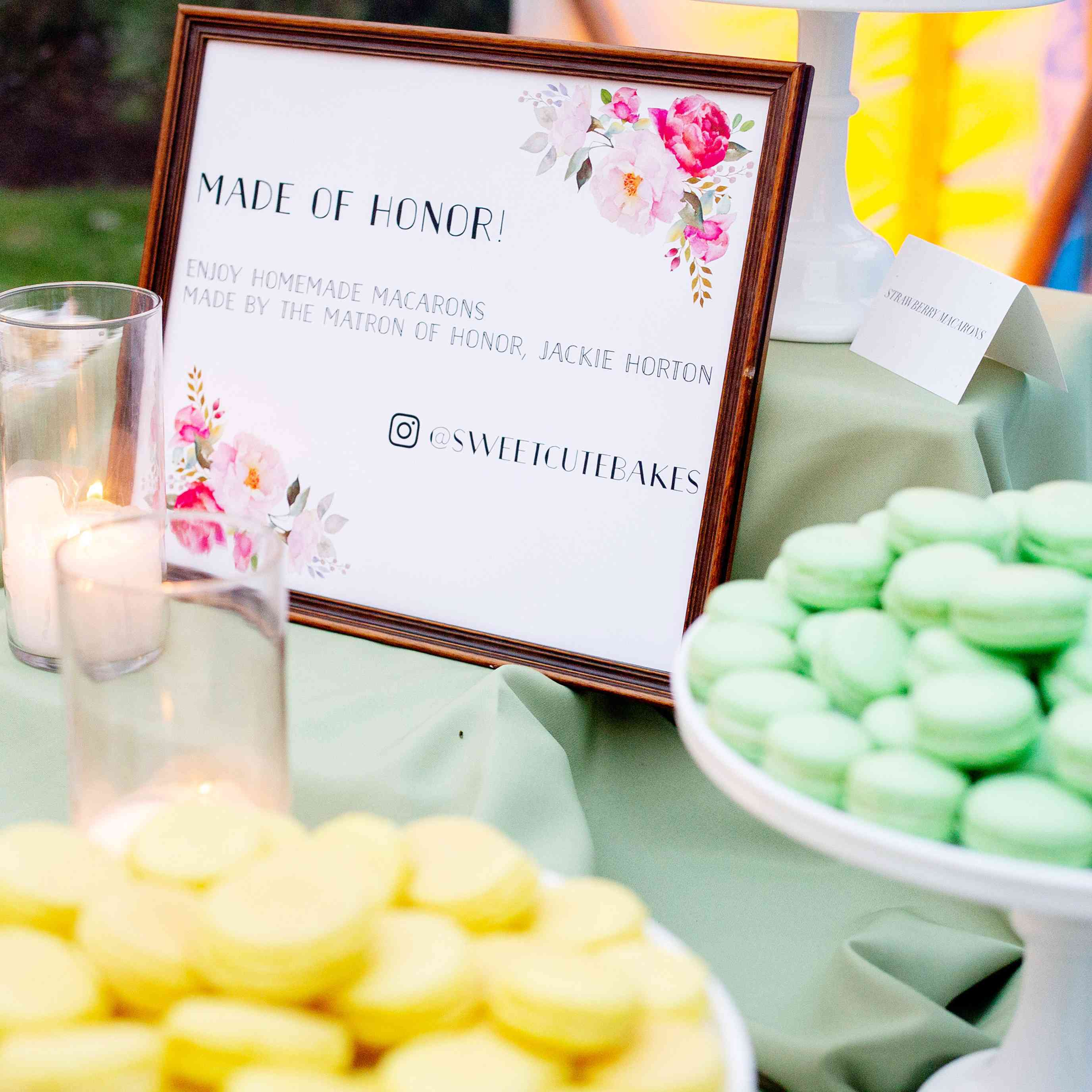 Colorful macarons on a dessert table