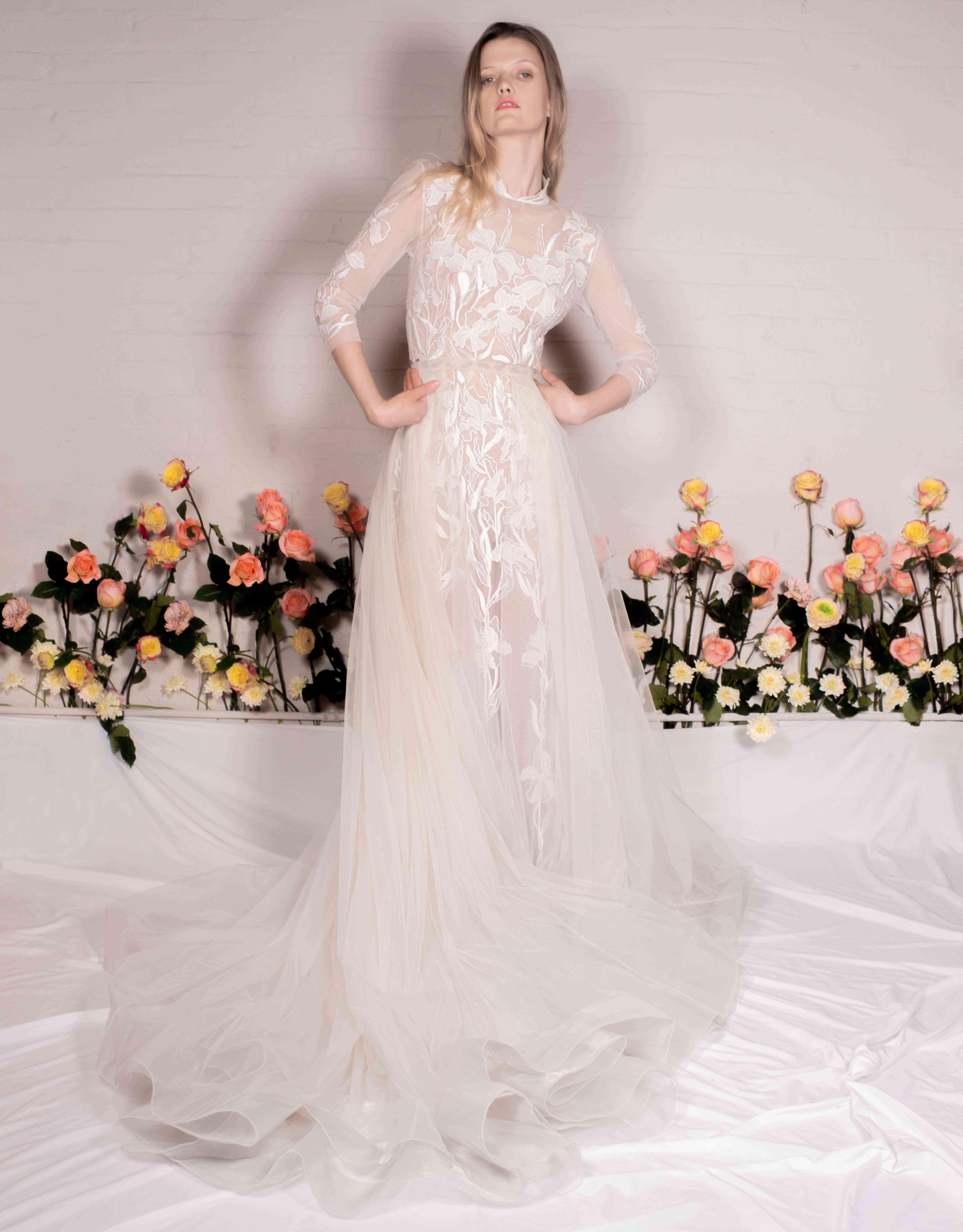 Riverside Iris wedding dress and Blush Tulle overskirt