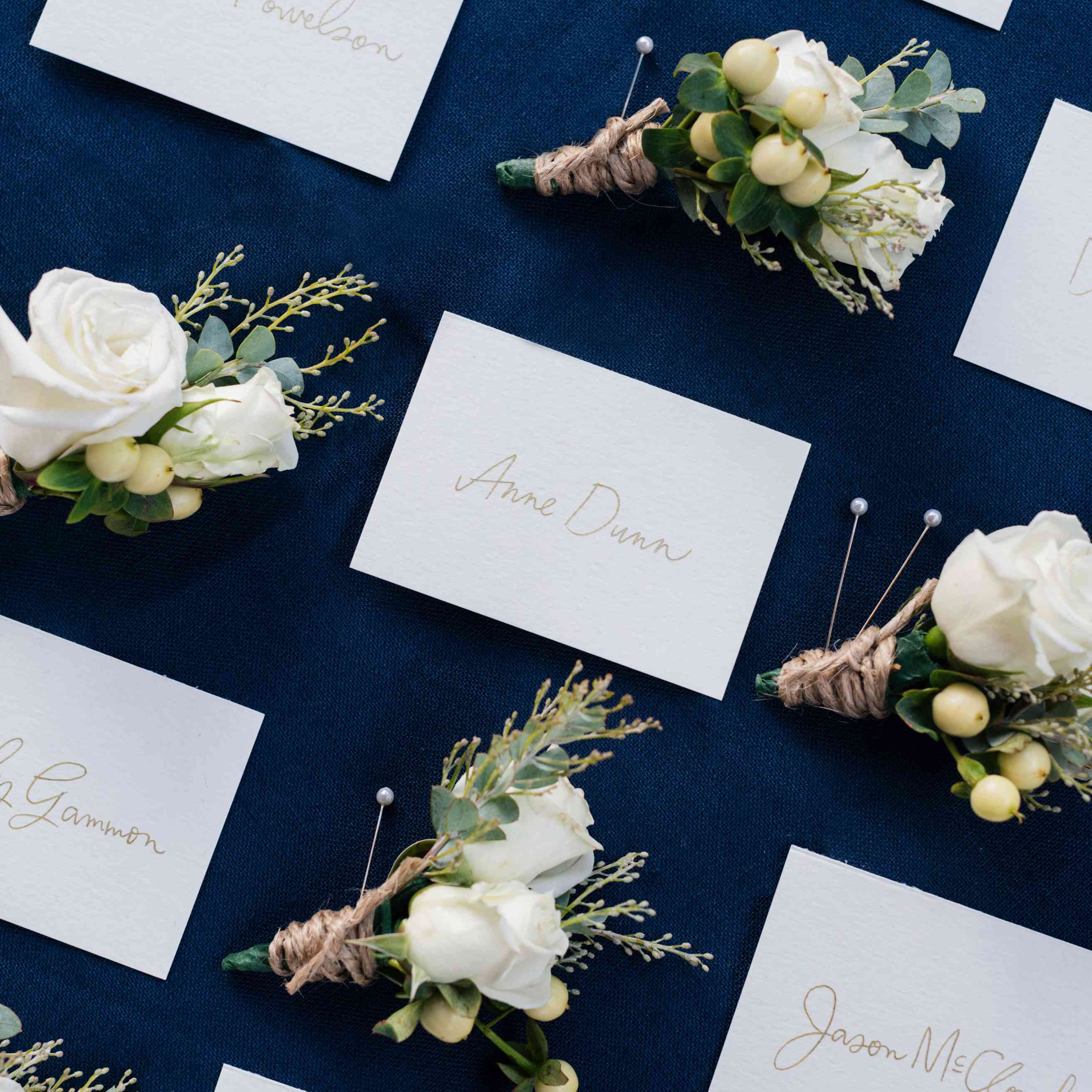 Navy blue tablecloth with nametags