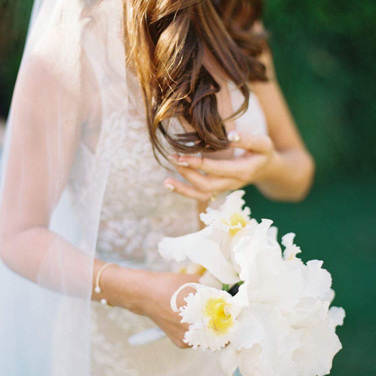 white posy wedding bouquet
