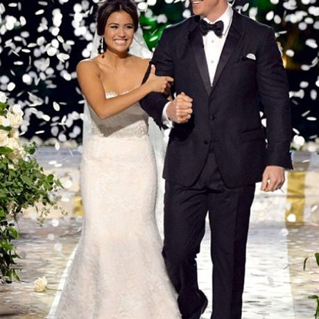 Catherine Giudici marries Bachelor Sean Lowe in Monique Lhuillier, 2014